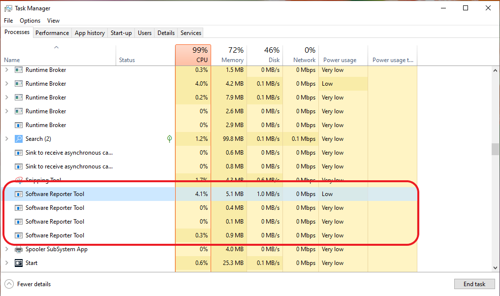 Software reporter tool in Task manager