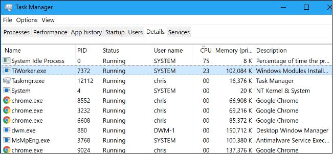 tiworker.exe windows modules installer worker