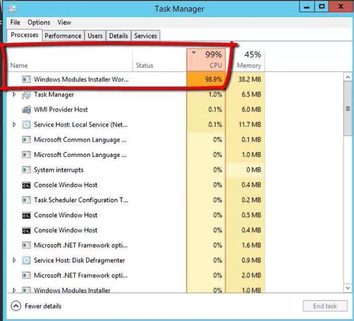 windows modules installer worker 100 disk